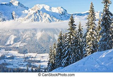 montagne, autriche, paysage., schladming.