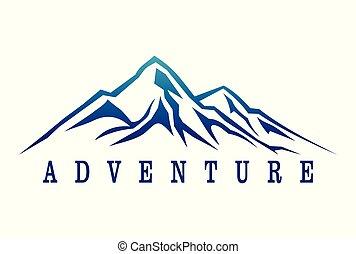 montagne, aventure, logo, dsign