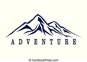 montagne, aventure, résumé, logo
