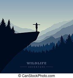 montagne, aventure, randonnée, falaise, girl, levers de soleil, vue