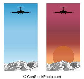 montagne, avion, voler plus