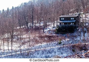 montagne, bûche, mois, pendant, côté, cabine, hiver