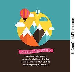 montagne, balloon, arrière-plans, soleil, air