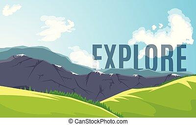 montagne, bannière, crêtes
