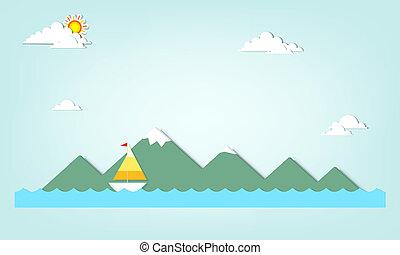 montagne, barca, fondo