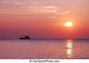 montagne, bateau, lac, levers de soleil, matin