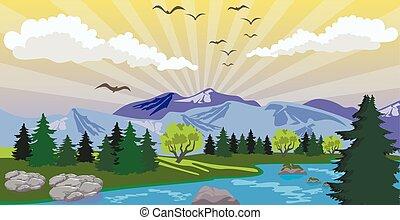 montagne, beauté, lac, levers de soleil, sous, paysage
