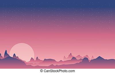 montagne, beauté, paysage, lune