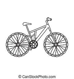 montagne, bike., cyclisme, descendant, depuis, les, mountains.different, vélo, unique, icône, dans, contour, style, vecteur, symbole, stockage, illustration.