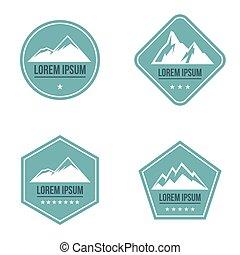 montagne, blanc, logo, sur, arrière-plan bleu