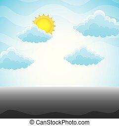 montagne bleue, ciel, paysage, colline, nuage