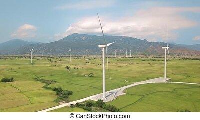 montagne bleue, générer, aérien, puissance, paysage., turbines, énergie, ciel, vert, bourdon, champ, station, éolienne, vent, propre, agricole, vue., turbine, renouvelable, vue