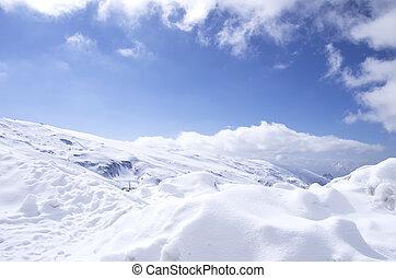 montagne bleue, panorama, ciel, neige, gamme, paysage