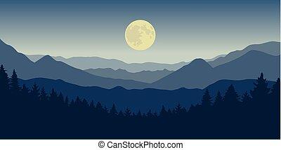 montagne bleue, pleine lune, forêt, nuit, paysage