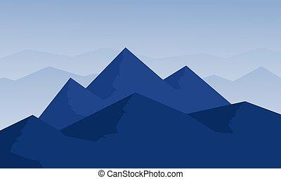 montagne bleue, silhouette, fond