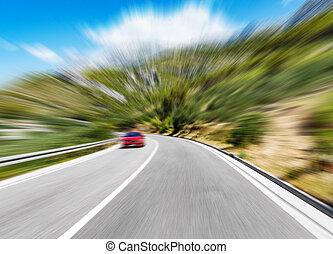 montagne bleue, sky., ternissure mouvement, added., autoroute