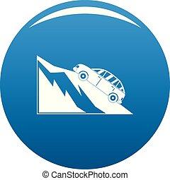 montagne bleue, vecteur, icône, accident