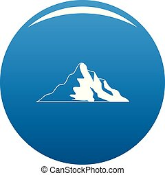montagne bleue, vecteur, neige, icône