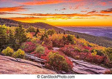 montagne blu, autunno, cresta, alba