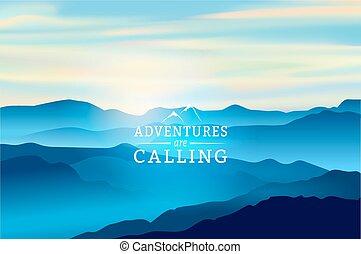 montagne blu, -, avventure, segno, fondo., vettore, chiamata, alba