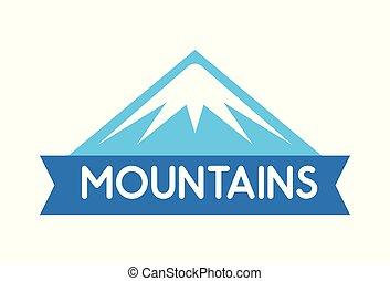 montagne blu, emblema, alpi, viaggi colore, decorazione, giro, vettore, logotipo, everest, spedizioni