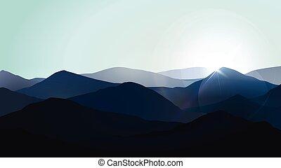 montagne blu, illustrazione, vettore, nebbia, paesaggio