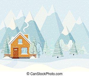 montagne blu, inverno, nevoso, legno, paese, albero, casa, camino, paesaggio, nevicata, fumo, luce, rurale, viene, abeti rossi
