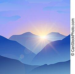 montagne blu, natura, bagliore, astratto, lente, fondo, paesaggio