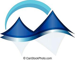 montagne blu, web, icona, vettore, logotipo