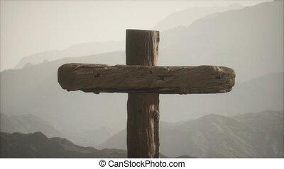 montagne, bois, crucifix, croix