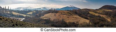 montagne, borzhava, arête, printemps, panorama