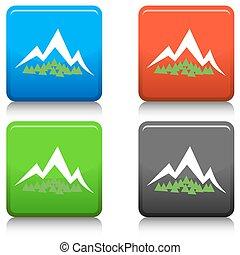 montagne, bouton, forêt