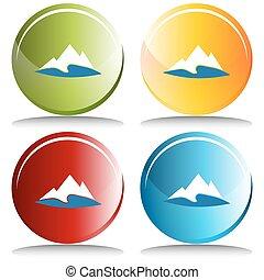 montagne, bouton, lac