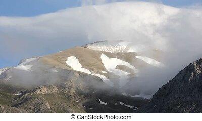 montagne, brouillard, chronocinématographie, paysage