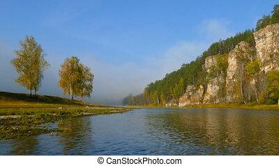 montagne, brouillard, paysage rivière, matin