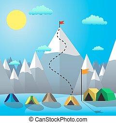 montagne, but, plat, illustration, drapeau, vecteur, conception, peak., achievement.