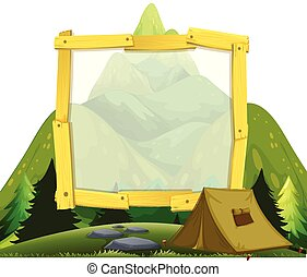 montagne, cadre, camping