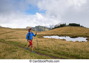 montagne, camminare, solitario, attivo, appiccicare, andando gita, nordico, ragazza