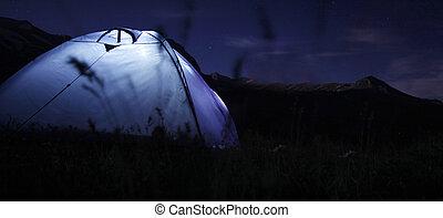 montagne, campeggio, notte