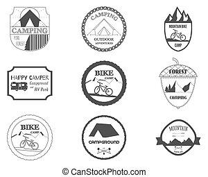 montagne, camping car, ensemble, camping, motorhome, voyage, vélo, theme., étiquette, parc, retro, vector., logo, emblems., graphics., camping, insignes, forêt