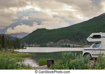 montagne, camping car, fourgon, camping, jésus-christ, parc, pierre, provincial