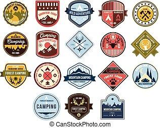montagne, camping, ensemble, garde forestier, aventure, vecteur, forêt, fond, sauvage, logo, blanc, illustrations, écusson, retro