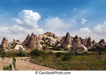 montagne, caverne, ville, cappadocia