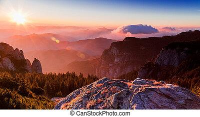 montagne, ceahlau, pic, levers de soleil
