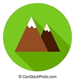 montagne, cercle, pic, icône
