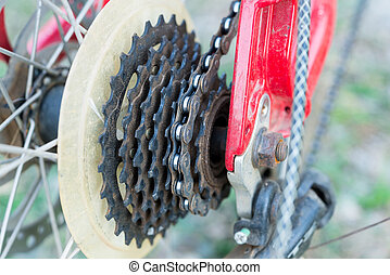 montagne, chaîne bicyclette, vélo, cassette, engrenages