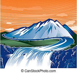 montagne, chute eau