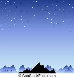 montagne, ciel, étoile, nuit, pointe