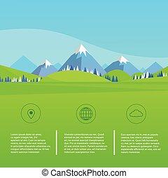montagne, ciel bleu, herbe, paysage, parc, forêt verte