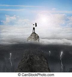 montagne, ciel, ensoleillé, nuageux, éclair, applaudissement, pic, homme affaires